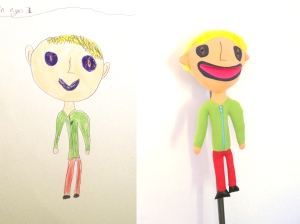 Toys kids drawings child with green shirt