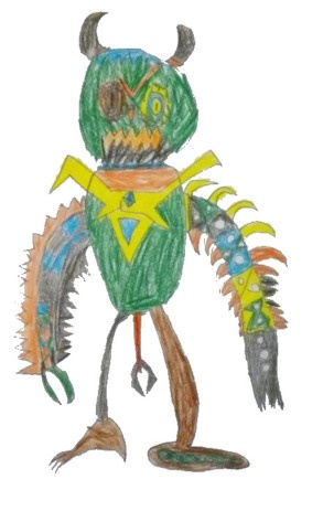 A child's drawing of an alien.