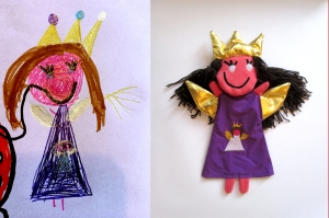 Toys kids drawings fairy with crown