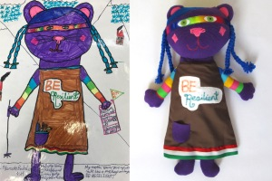 Toys from kids' drawings Resilient Cats